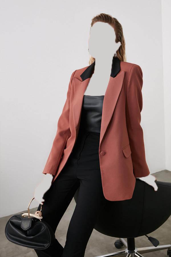خرید غیر حضوری ژاکت از ترکیه برند ترندیول میلا ترک رنگ قهوه ای کد ty31687803