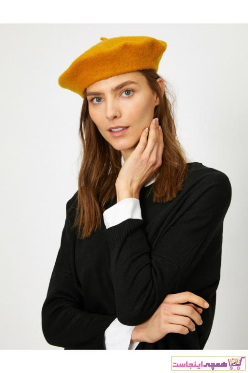 کلاه زنانه ترک جدید برند کوتون رنگ زرد ty32355791