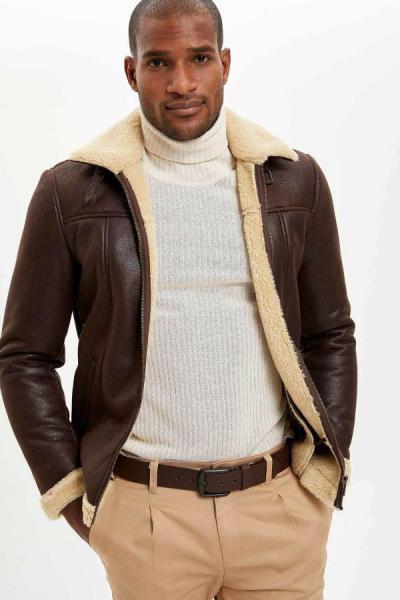 ژاکت چرم مردانه با قیمت برند دفاکتو ترک رنگ قهوه ای کد ty32593521