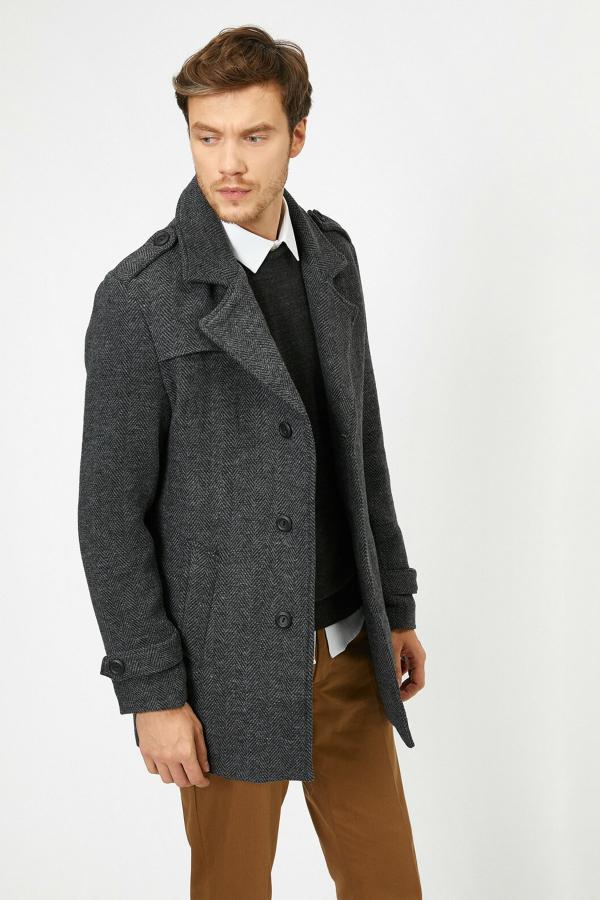پالتو مردانه مدل برند کوتون رنگ نقره ای کد ty32874887