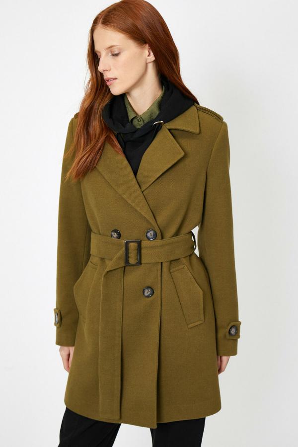 پالتو زنانه قیمت برند کوتون رنگ سبز کد ty33918215