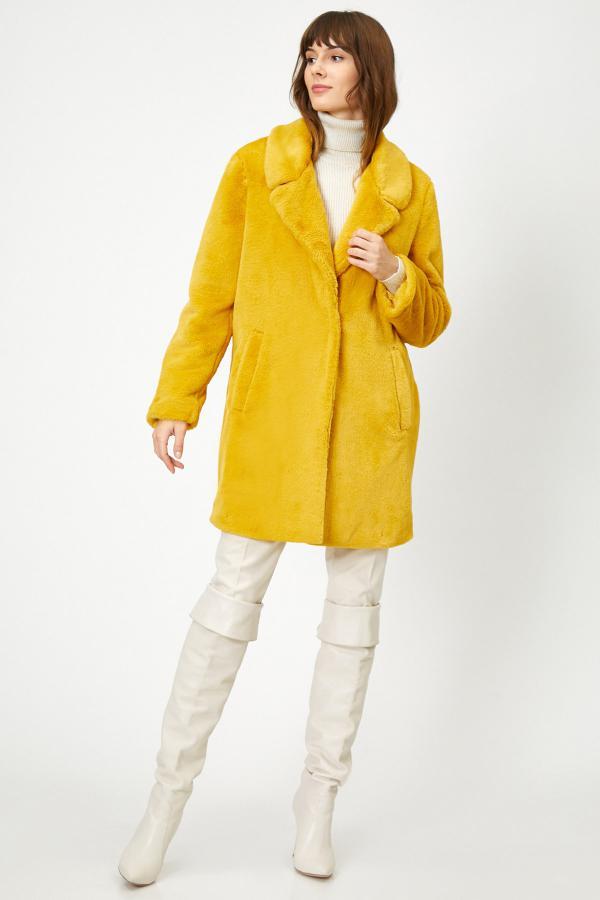 خرید انلاین پالتو زنانه ترکیه برند کوتون رنگ زرد ty34234098