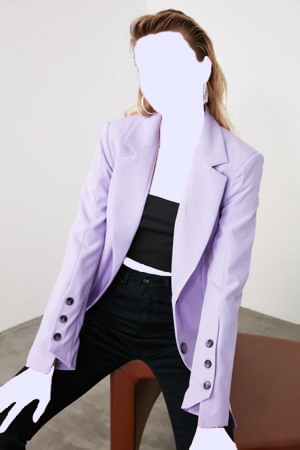 خرید پستی ژاکت شیک زنانه برند ترندیول میلا ترک رنگ بنفش کد ty34412042