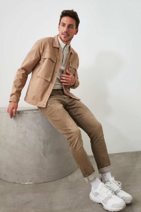 شلوار جین طرح دار برند ترندیول مرد رنگ قهوه ای کد ty34985085