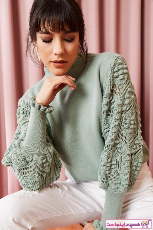 پلیور زنانه زیبا مارک Olalook رنگ فیروزه ای ty35015594