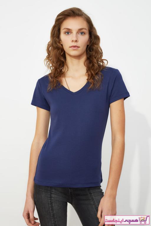 تیشرت پاییزی زنانه مارک ترندیول میلا رنگ لاجوردی کد ty35247550