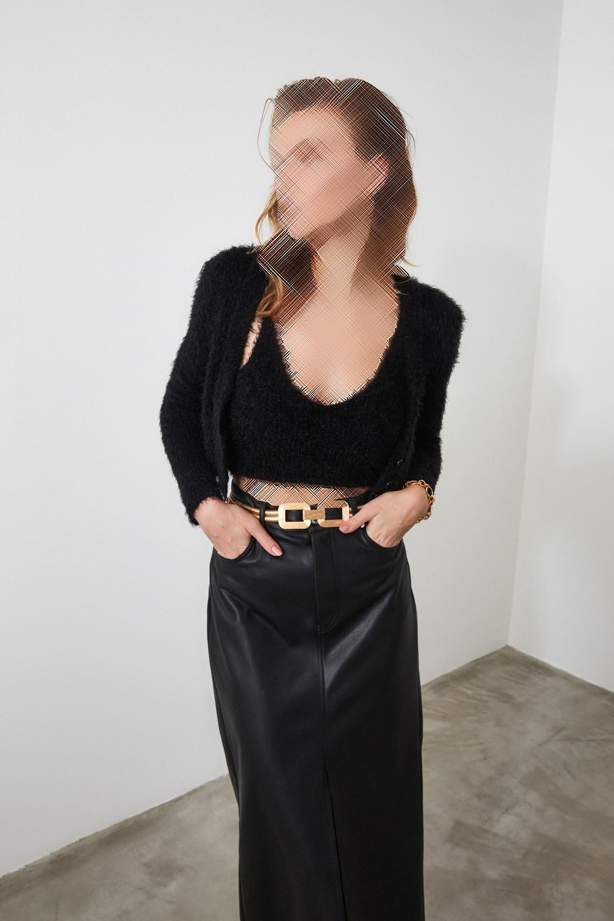 ژاکت بافتی زنانه برند ترندیول میلا ترک رنگ مشکی کد ty35461231