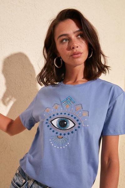 سفارش تیشرت زنانه ارزان مارک ترندیول میلا رنگ بنفش کد ty35468474