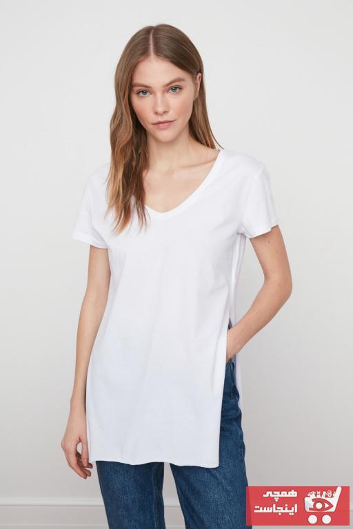 حرید اینترنتی تیشرت زنانه ارزان برند ترندیول میلا رنگ بژ کد ty35495126