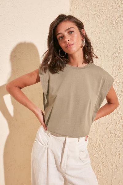 تیشرت زنانه ارزان برند ترندیول میلا ترک رنگ خاکی کد ty35503715