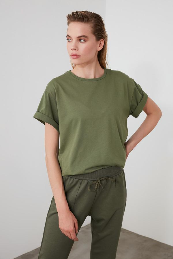 خرید انلاین تیشرت زنانه خاص مارک ترندیول میلا رنگ خاکی کد ty35608512