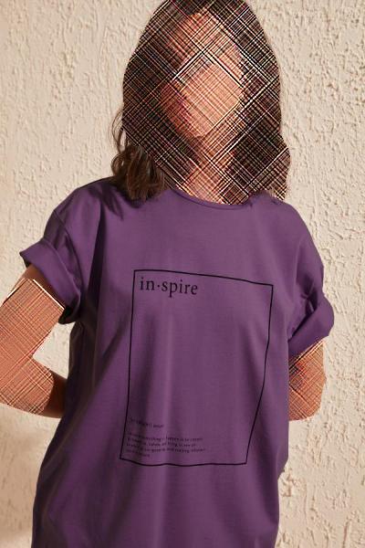 تیشرت زنانه پارچه نخی برند TRENDYOLMİLLA رنگ بنفش کد ty35701030