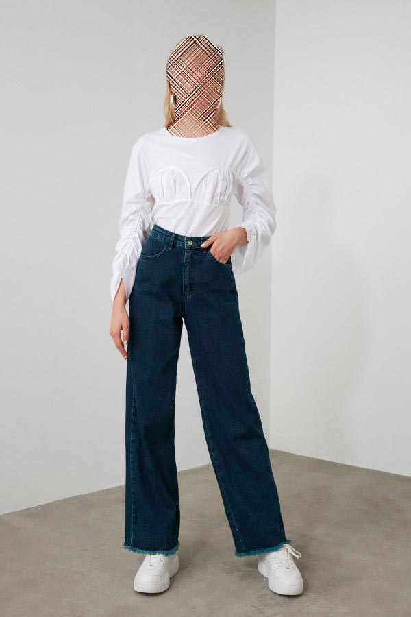 خرید اسان شلوار جین زنانه زیبا برند ترندیول میلا ترک رنگ لاجوردی کد ty35719558