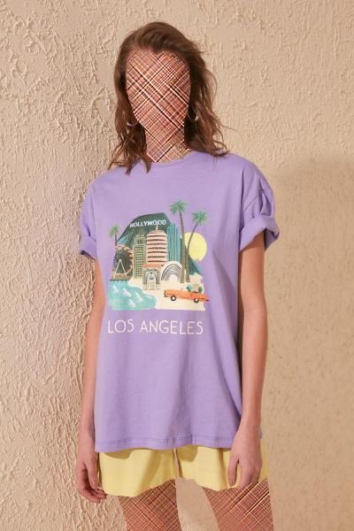 فروشگاه تیشرت زنانه سال ۹۹ مارک ترندیول میلا رنگ بنفش کد ty35741100