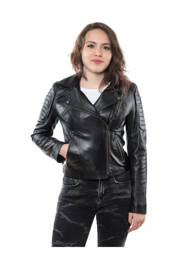 کاپشن چرم دخترانه اصل و جدید برند Derim Deri رنگ مشکی کد ty35770585