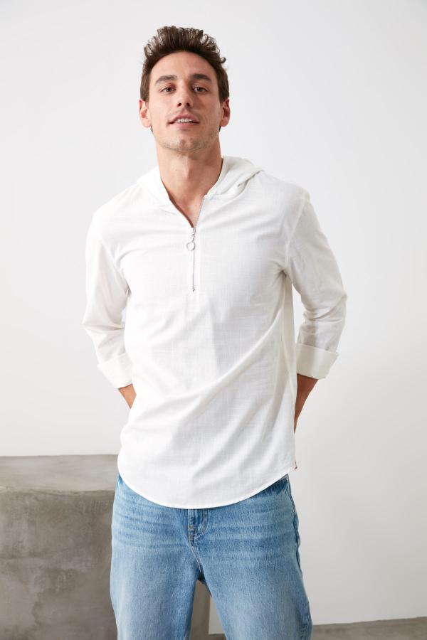 پیراهن اسپرت ساده مارک ترندیول مرد رنگ بژ کد ty35845296