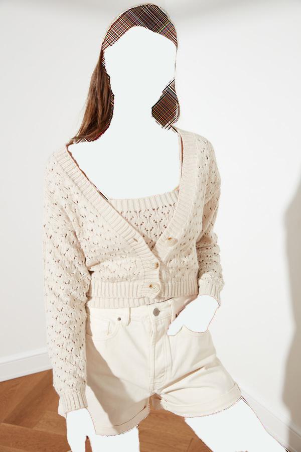 ژاکت بافتی زنانه ارزان برند TRENDYOLMİLLA رنگ نقره ای کد ty35876911