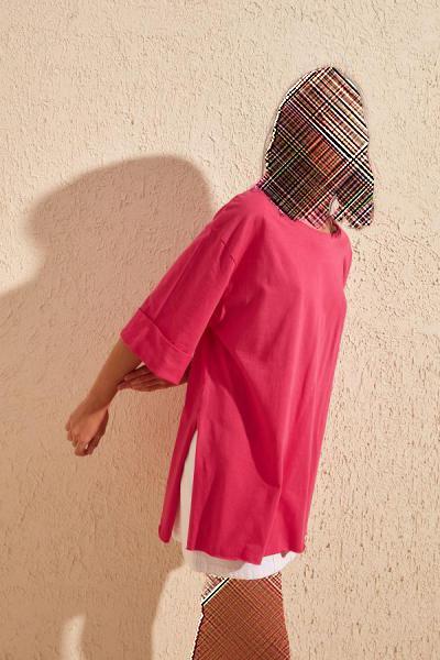 تیشرت زنانه نخی برند ترندیول میلا ترک رنگ صورتی ty36254873