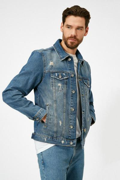 ژاکت مردانه مارک دار برند کوتون رنگ لاجوردی کد ty36403521