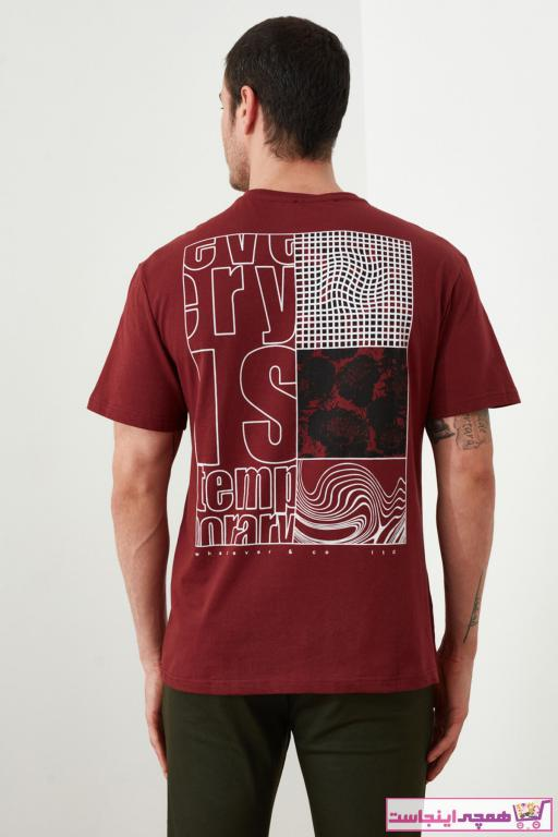 خرید اینترنتی تی شرت شیک برند ترندیول مرد رنگ زرشکی ty37302498