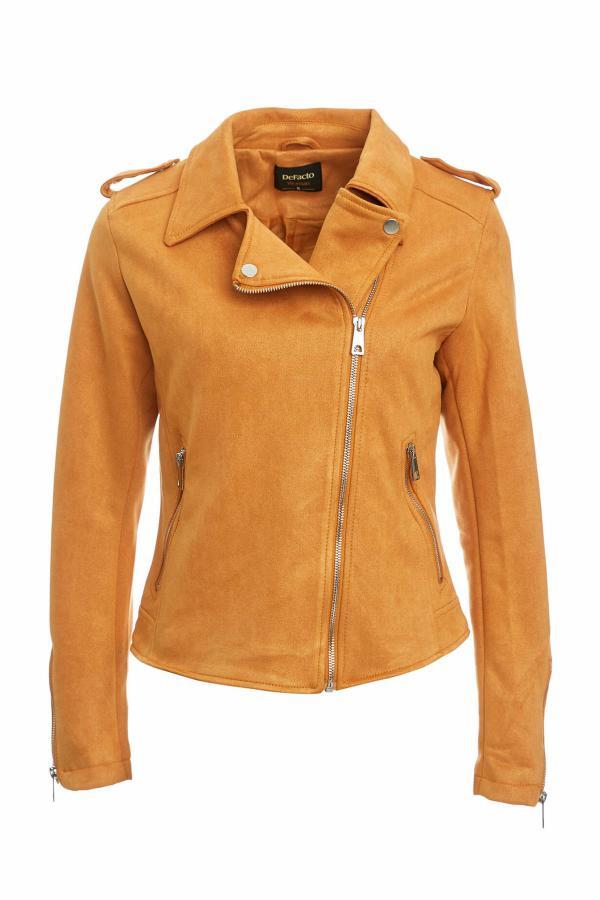 کاپشن چرم دخترانه مارک برند دفاکتو ترک رنگ نارنجی کد ty38560703
