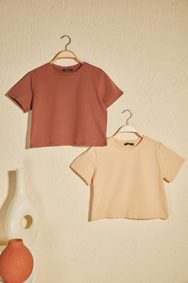 خرید اینترنتی تیشرت خاص زنانه برند TRENDYOLMİLLA رنگ قهوه ای کد ty38824296