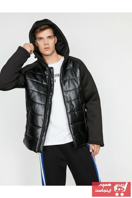 خرید پستی کاپشن چرم مردانه برند کوتون رنگ مشکی کد ty3947332