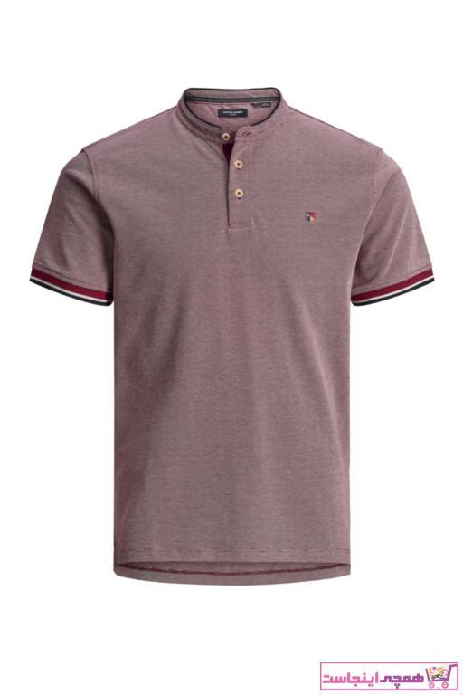 تی شرت مردانه ترک مارک جک اند جونز رنگ زرشکی ty40930493