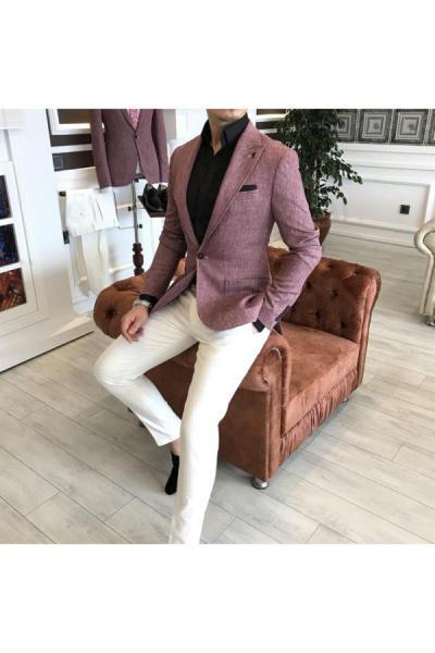 خرید اسان کت تک مردانه اورجینال برند TerziAdemAltun رنگ صورتی ty40983521