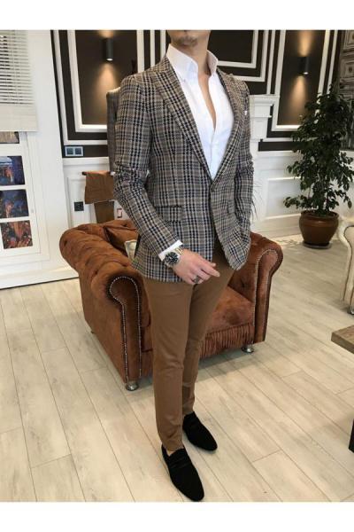 کت تک پاییزی مردانه برند TerziAdemAltun رنگ قهوه ای کد ty41049385