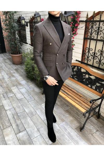 فروشگاه کت تک مردانه اینترنتی برند TerziAdemAltun رنگ قهوه ای کد ty41052384
