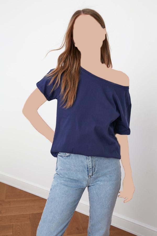 تی شرت زنانه فروش برند ترندیول میلا ترک رنگ لاجوردی کد ty41186721