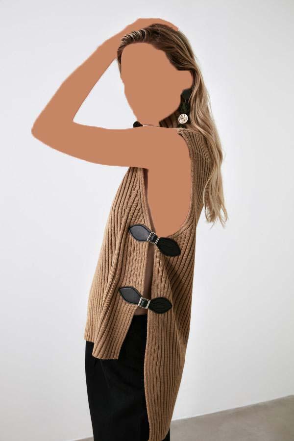 بلوز زنانه اسپرت جدید مارک ترندیول میلا رنگ قهوه ای کد ty41508162