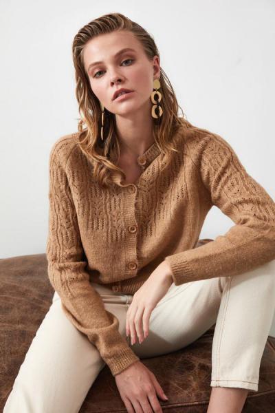 ژاکت بافتی زنانه شیک جدید برند ترندیول میلا ترک رنگ قهوه ای کد ty41731133