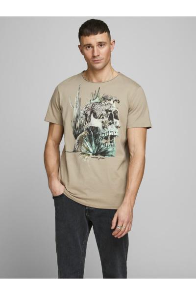 تی شرت مردانه ساده برند Jack Jones رنگ بژ کد ty41853916