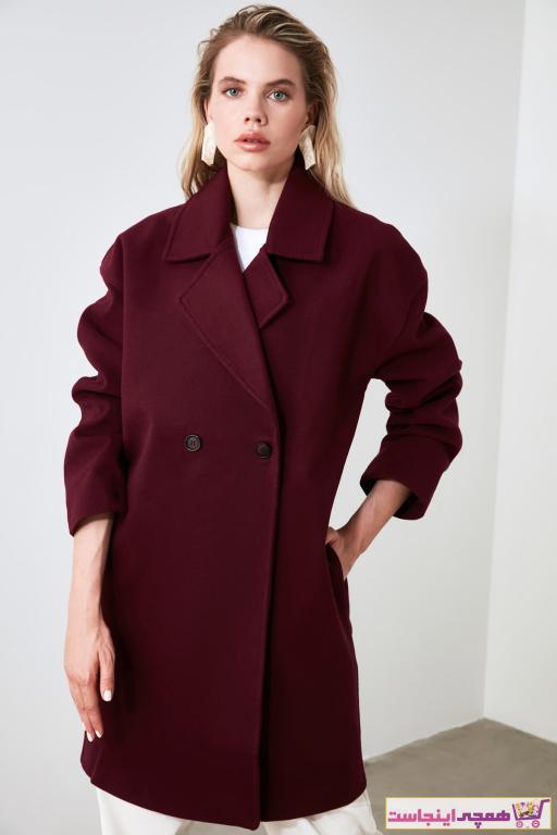 سفارش پالتو زمستانی زنانه برند TRENDYOLMİLLA رنگ زرشکی ty41899375