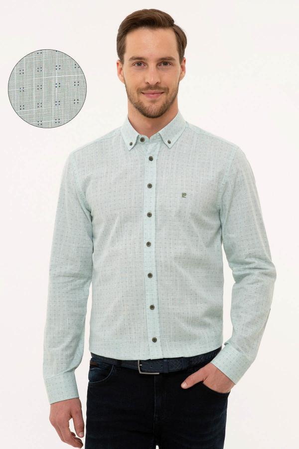 فروش پیراهن مردانه فانتزی برند پیرکاردین رنگ سبز کد ty42333443