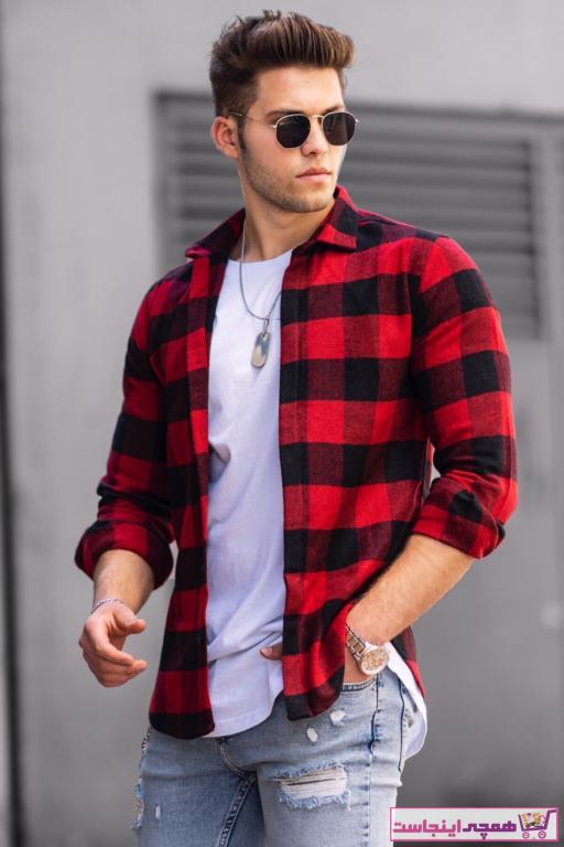 پیراهن مردانه مدل برند Madmext رنگ قرمز ty42588263
