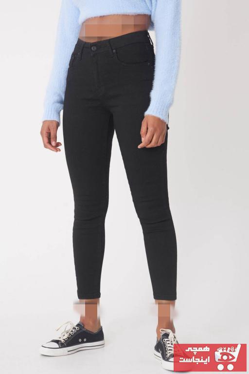 شلوار جین جدید زنانه شیک برند Addax رنگ مشکی کد ty4276096