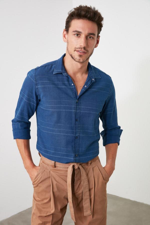 پیراهن ساده مارک ترندیول مرد رنگ لاجوردی کد ty43140311