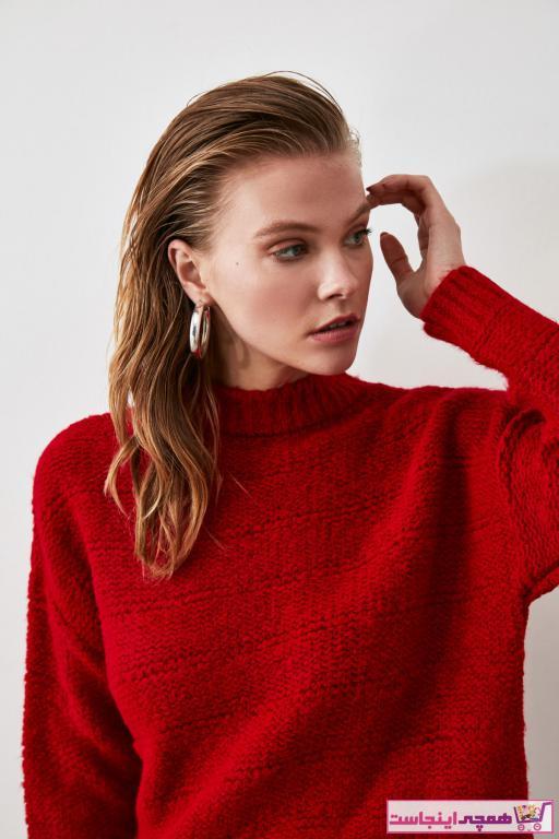 خرید انلاین پلیور زنانه طرح دار برند ترندیول میلا ترک رنگ قرمز ty43510282