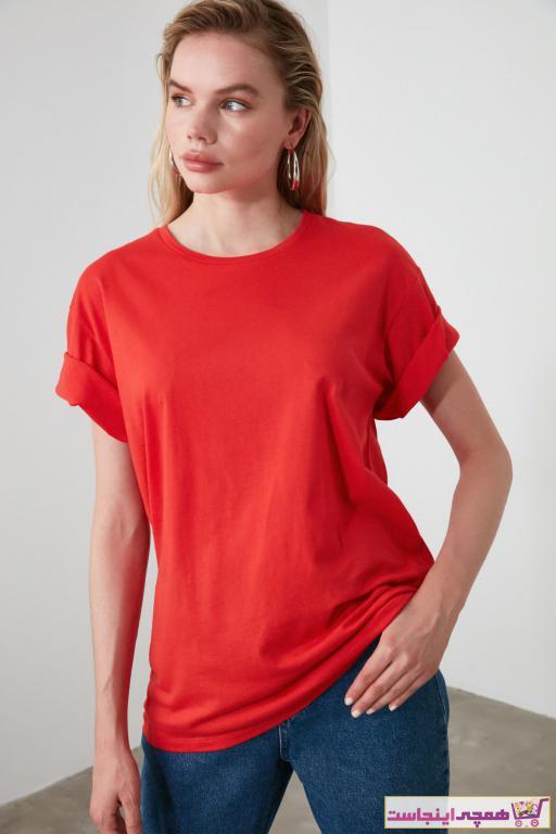 فروش تی شرت جدید برند ترندیول میلا ترک رنگ قرمز ty43842068