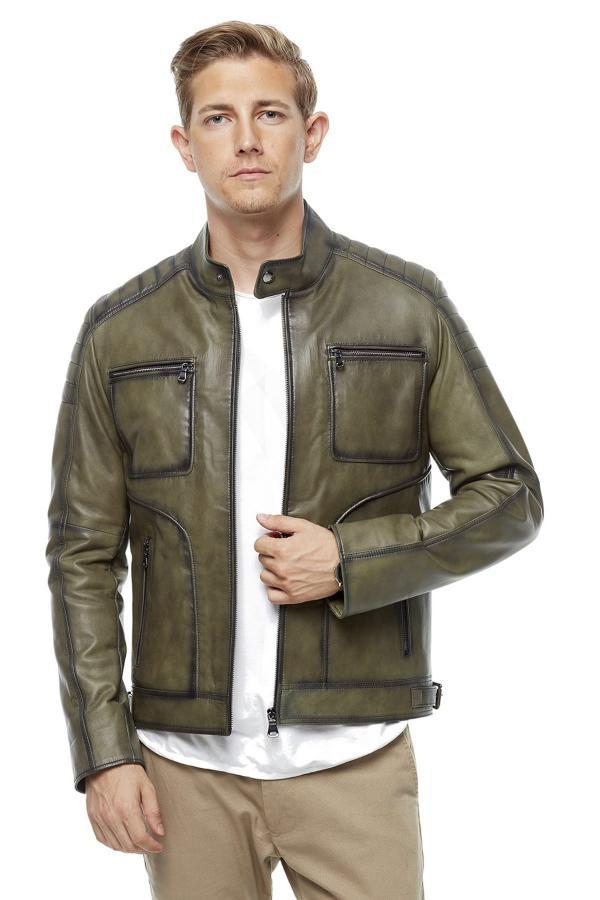 ژاکت چرم مردانه خاص برند Deriza رنگ سبز کد ty4425064
