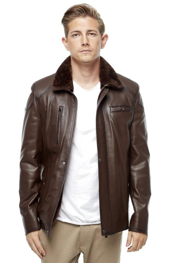 خرید مستقیم ژاکت چرم جدید Deriza رنگ قهوه ای کد ty4425066