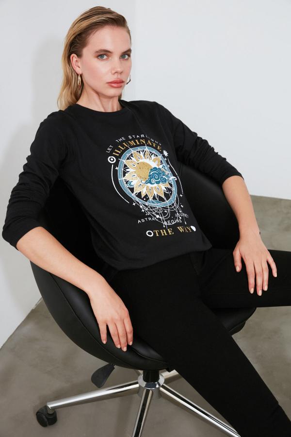 تیشرت خاص برند ترندیول میلا رنگ مشکی کد ty44386182