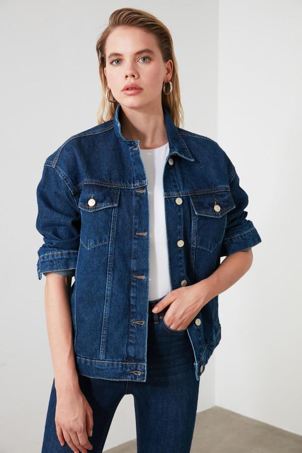 خرید انلاین ژاکت جدید زنانه شیک برند TRENDYOLMİLLA رنگ لاجوردی کد ty44615739
