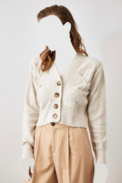 ست ژاکت بافتی زنانه برند ترندیول میلا ترک رنگ بژ کد ty45524946