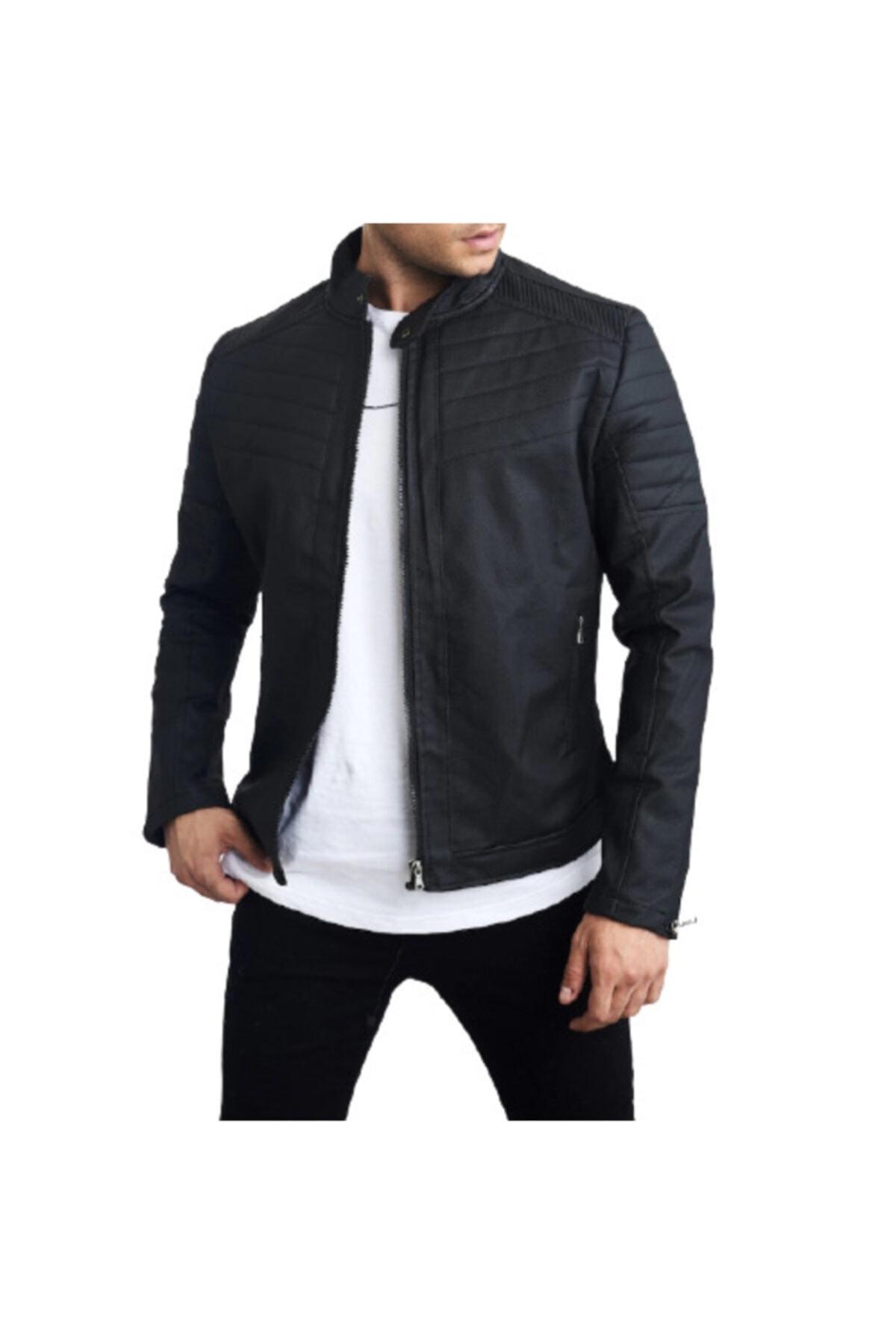 ژاکت چرم مردانه نخ پنبه برند DCS COLLECTION رنگ مشکی کد ty45745786