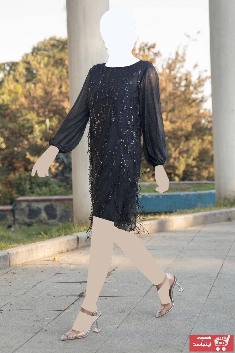 لباس مجلسی زنانه پارچه نخی برند Gökmen Kotan رنگ مشکی کد ty45993095