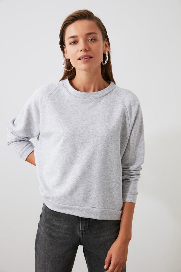 خرید اینترنتی سویشرت خاص زنانه برند ترندیول میلا رنگ نقره ای کد ty46232183